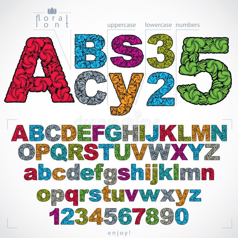 Uppsättningen av härliga bokstäver och nummer dekorerade med växt- ornam vektor illustrationer