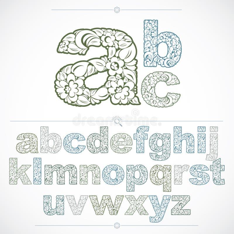 Uppsättningen av härliga små bokstäver dekorerade med växt- ornamen stock illustrationer