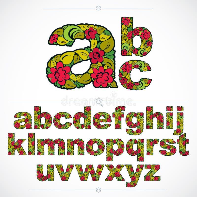 Uppsättningen av härliga små bokstäver dekorerade med växt- ornamen royaltyfri illustrationer