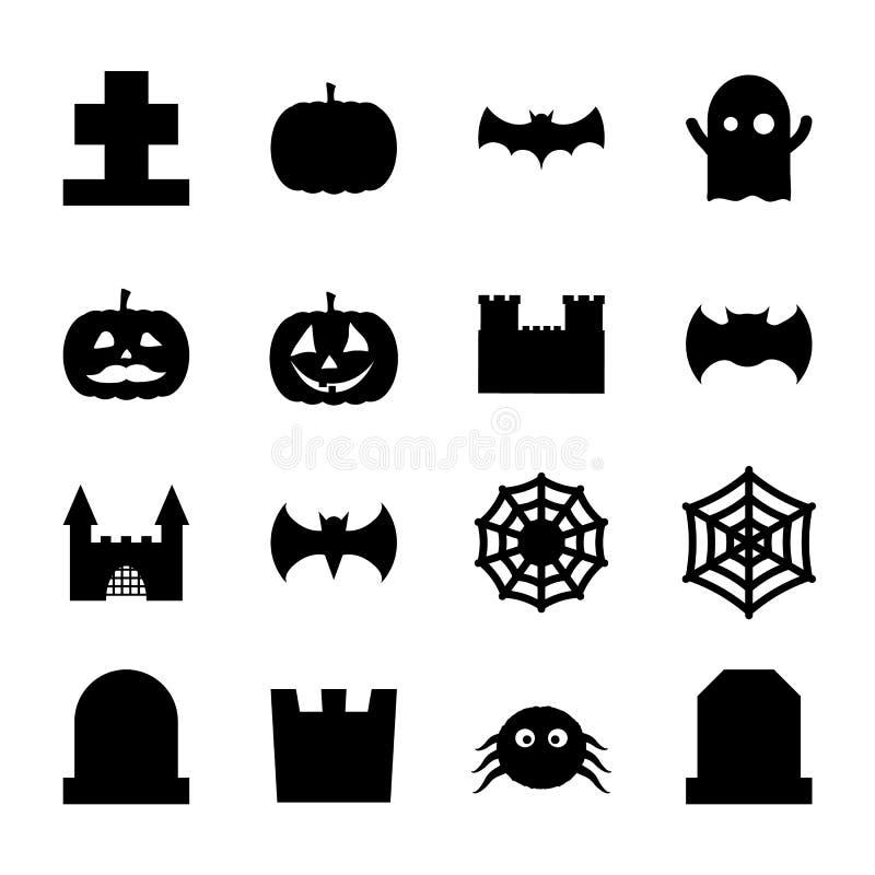 Uppsättningen av halloween gällde spöklika och gulliga garneringsymboler för design vektor illustrationer
