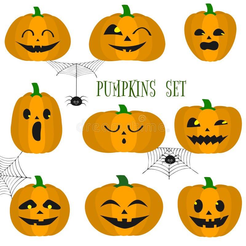 Uppsättningen av halloween pumpor, roliga framsidor i tecknad film utformar Spindlar och spindelnät Höstferier Vektorillustration vektor illustrationer