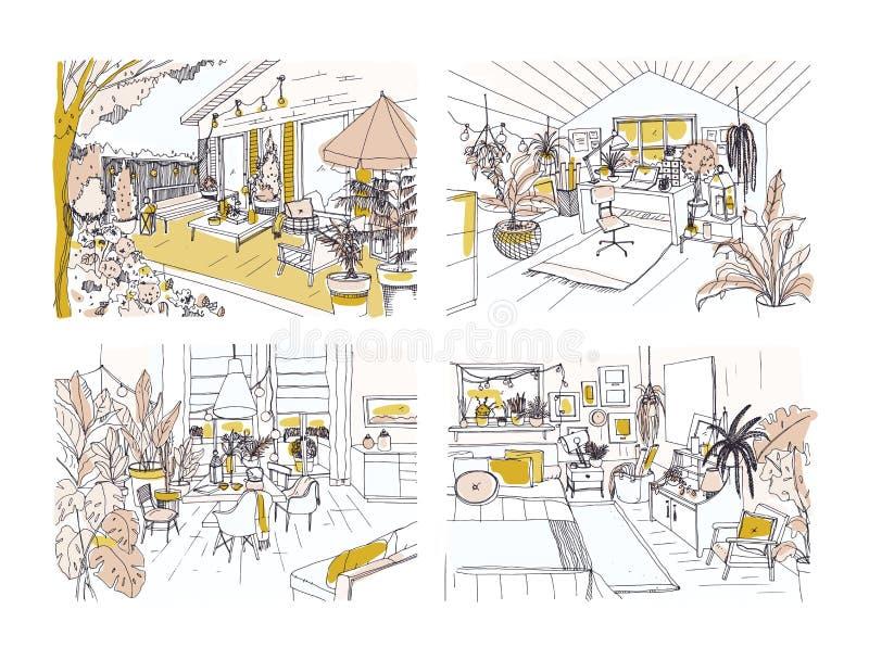 Uppsättningen av halvan som freehand färgas, skissar av den hemtrevliga lägenheten som möbleras i skandinavisk hyggestil Packe av royaltyfri illustrationer