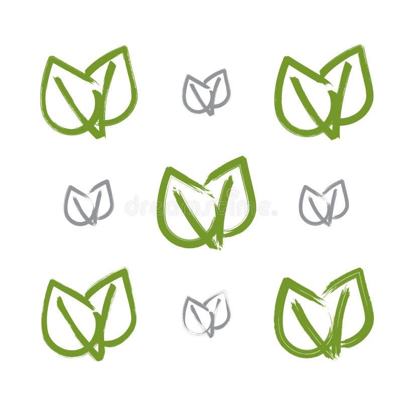 Uppsättningen av hand-dragen vektorgräsplaneco lämnar symboler vektor illustrationer