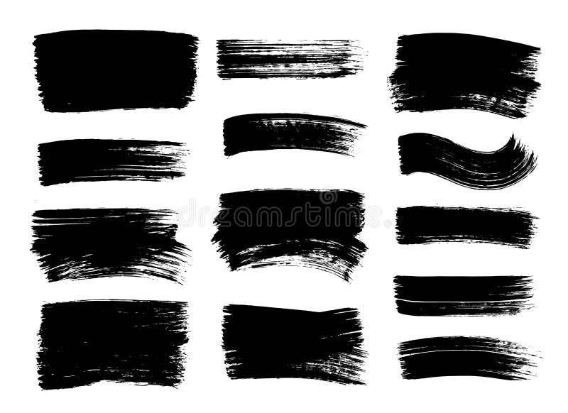 Uppsättningen av handen dragen svart målarfärg, färgpulverborsteslaglängder, borstar, fodrar Smutsiga grungedesignbeståndsdelar,  vektor illustrationer