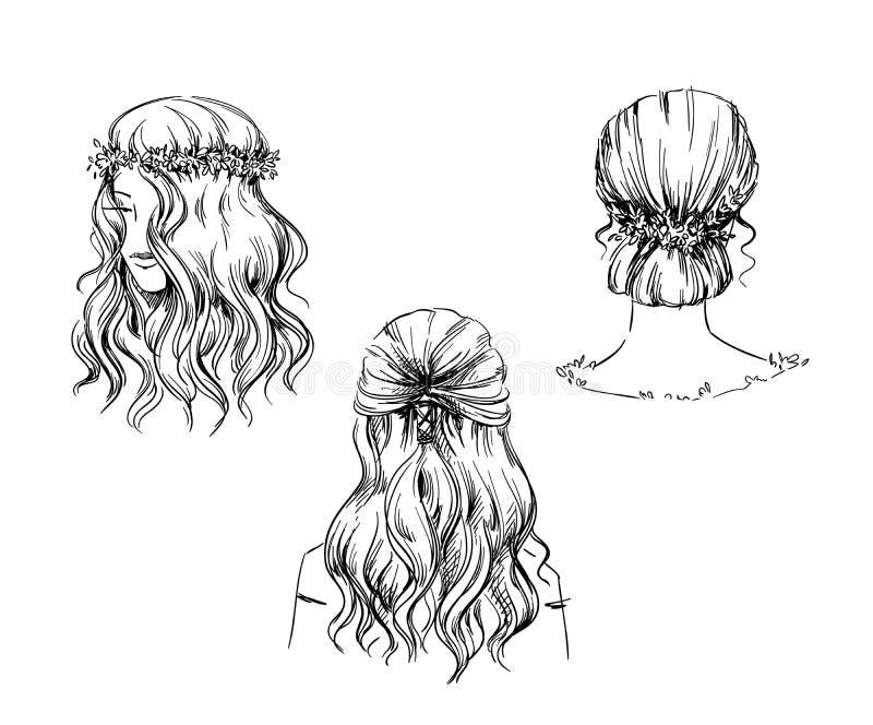 Uppsättningen av handen drog frisyrer, vektor skissar Text och teckning av flickan vektor illustrationer