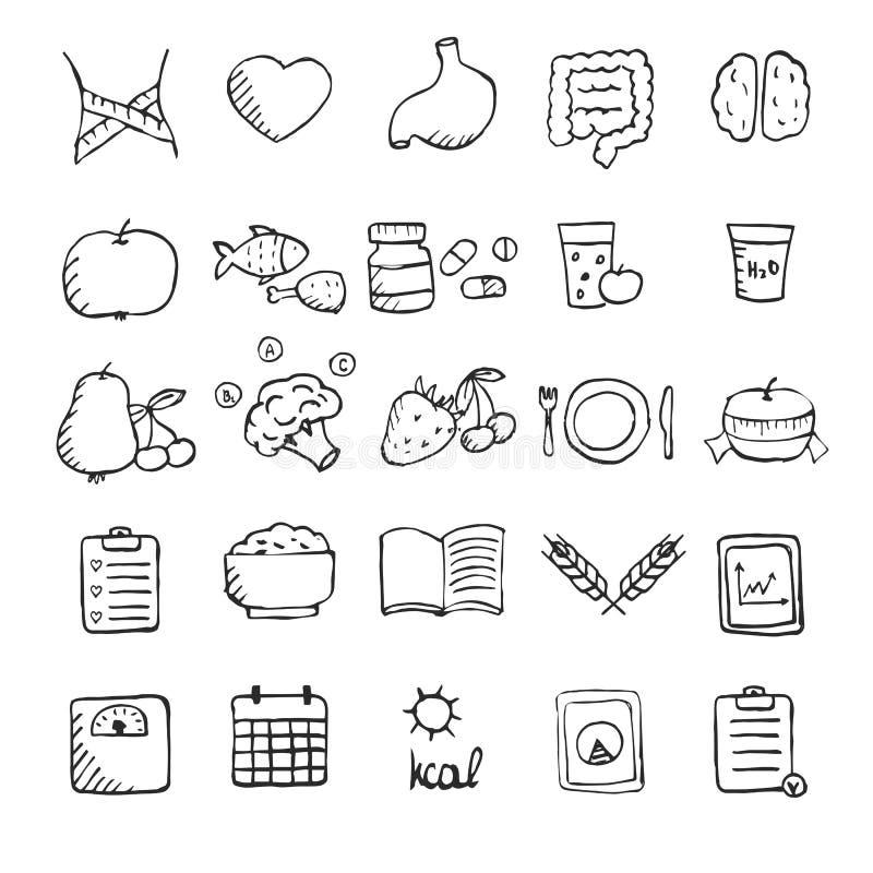 Uppsättningen av handen drog sunda livsstilsymboler ställde in vektor illustrationer