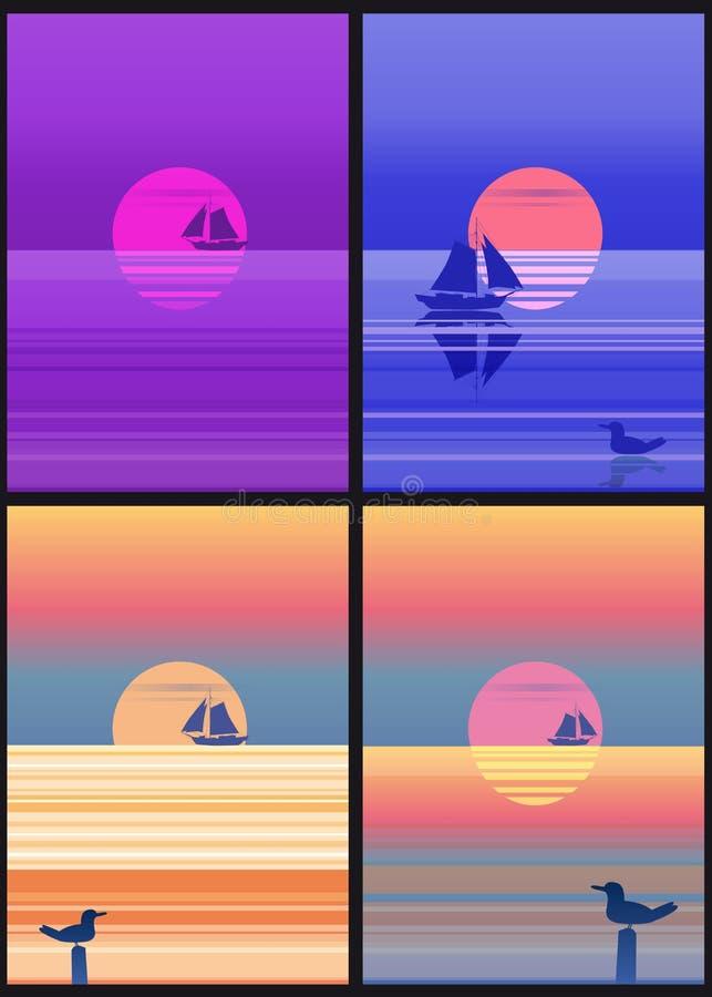 Uppsättningen av havslandskapet cards mallen med den minimalistic illustrationen för segelbåten Seascapesoluppgång eller solnedgå royaltyfri illustrationer
