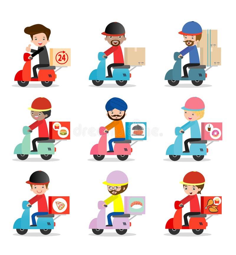 Uppsättningen av hemsändning, leveransman rider den motoriska cykeln, transport, mannen som hipsteren rider mopeden, lägenhet för stock illustrationer