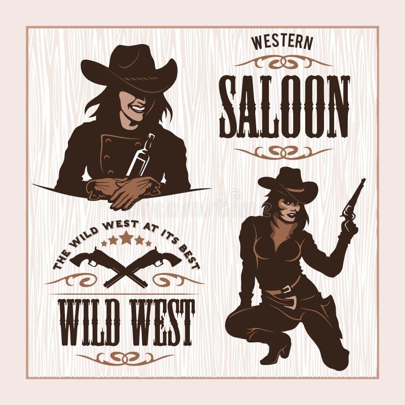 Uppsättningen av Hipstertappningetiketter, logotyper, förser med märke för din affär Löst västra tema royaltyfri illustrationer