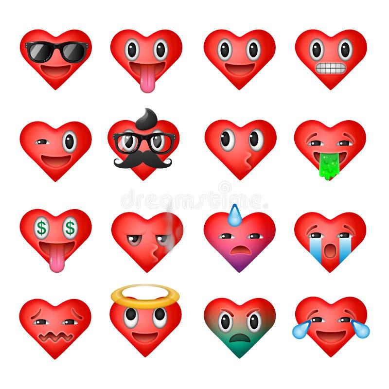 Uppsättningen av hjärtaemoticons, emojismiley vänder mot vektor illustrationer