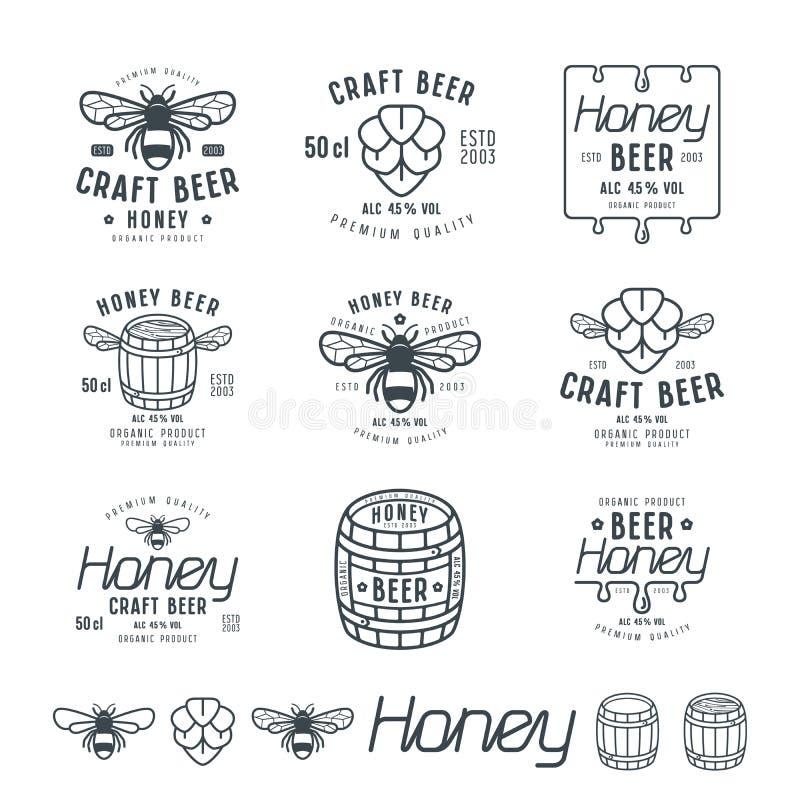 Uppsättningen av honungöl märker, emblem och designbeståndsdelar vektor illustrationer