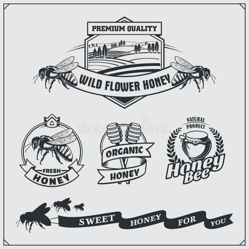 Uppsättningen av honung märker, emblem och designbeståndsdelar E royaltyfri illustrationer