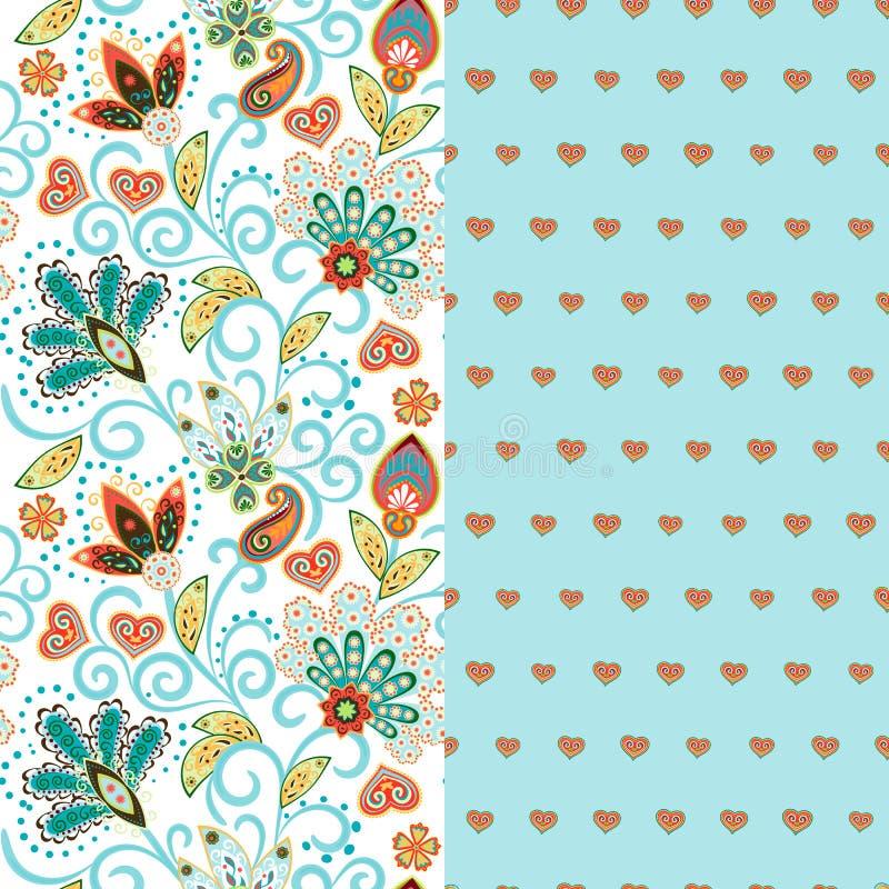 Uppsättningen av horisontalsömlös blom- modell två med paisley och fantasiblommor gränsar Hand dragen textur för kläder stock illustrationer