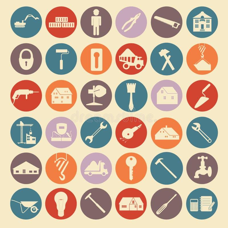 Uppsättningen av husreparationen bearbetar symboler royaltyfri illustrationer