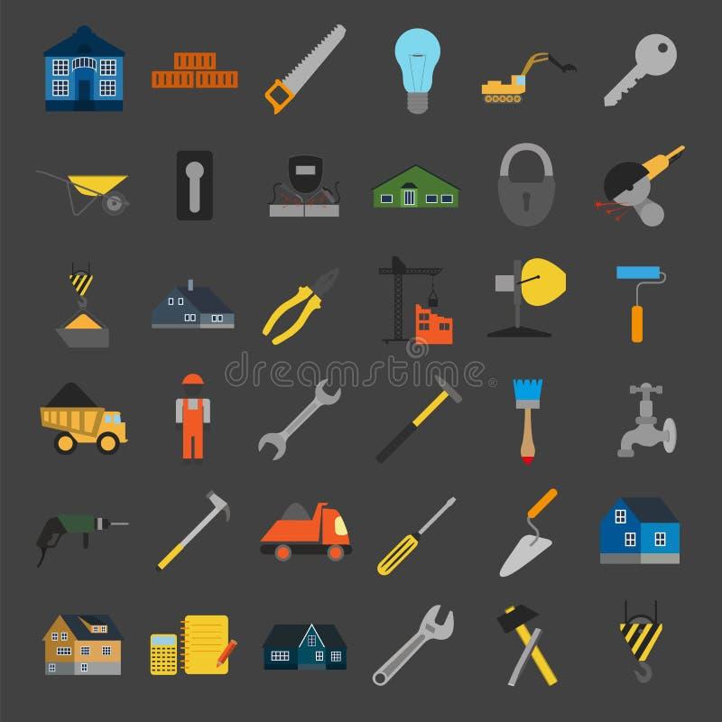 Uppsättningen av husreparationen bearbetar symboler vektor illustrationer