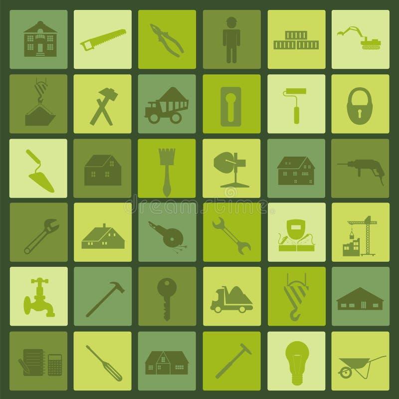 Uppsättningen av husreparationen bearbetar symboler stock illustrationer