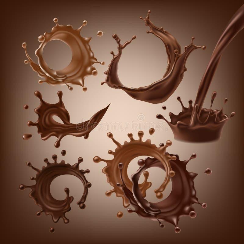 Uppsättningen av illustrationer för vektor 3D, plaskar och tappar av smältt mörkt och mjölkar choklad, varmt kaffe, kakao royaltyfri illustrationer