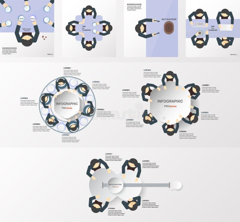 Uppsättningen av infographicsbeståndsdelar med affärsmän team Mall fo stock illustrationer
