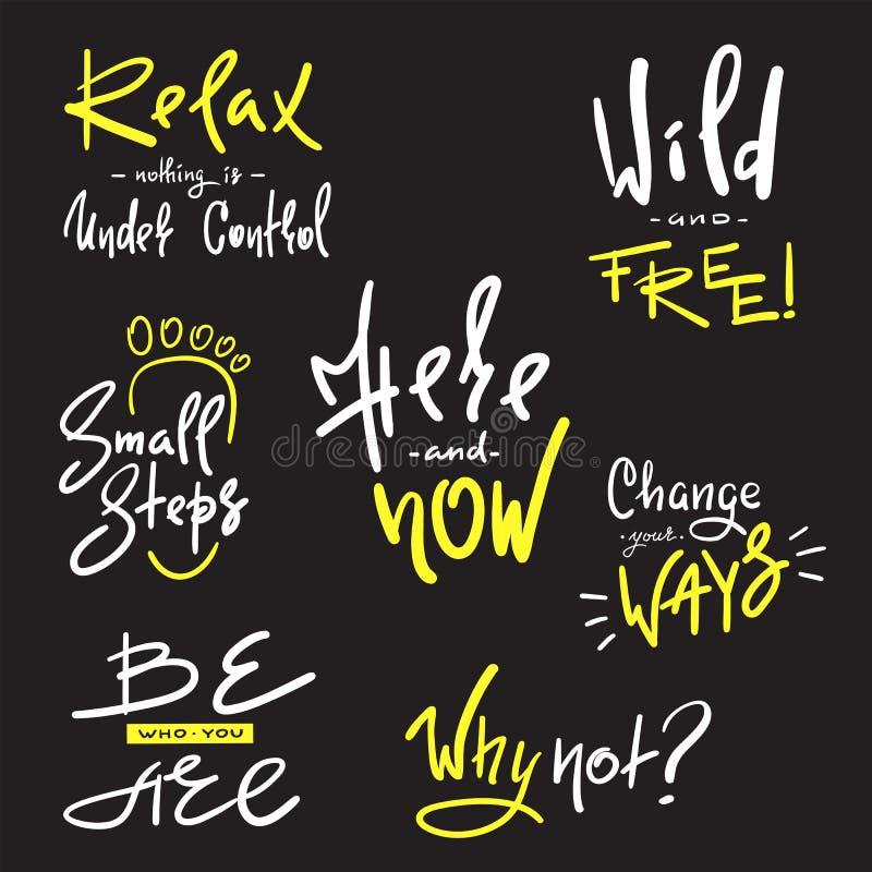 Uppsättningen av inspirerar och motivational citationstecken Hand dragit härligt kalligrafitecken Tryck för inspirerande affisch, royaltyfri illustrationer