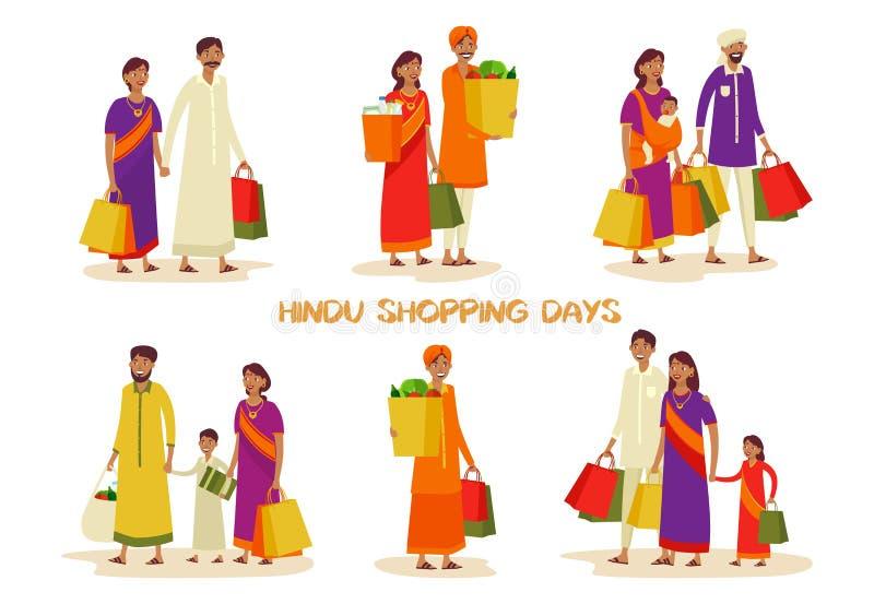 Uppsättningen av isolerade familjer under shopping på shoppar stock illustrationer