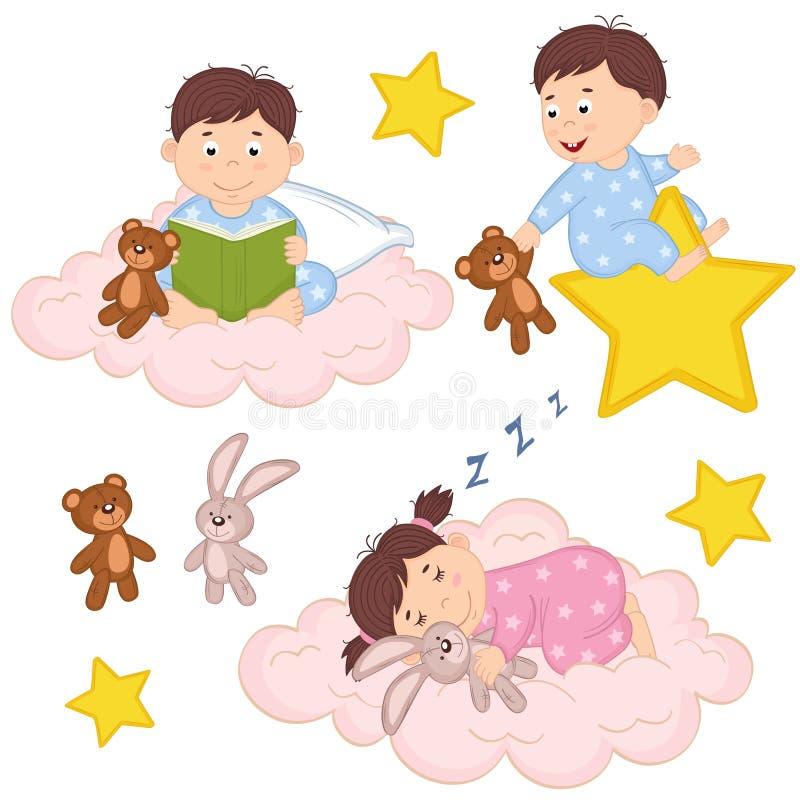 Uppsättningen av isolerat behandla som ett barn på molnet och stjärnan vektor illustrationer
