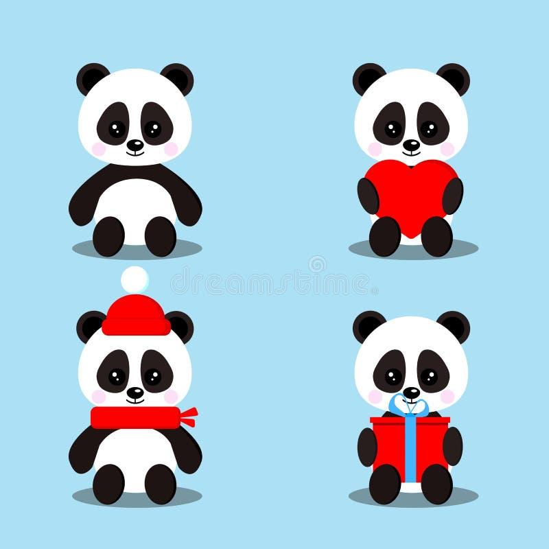 Uppsättningen av isolerat gulligt behandla som ett barn pandabjörnar, i att sitta posera med gåvan, hjärta, den röda halsduken, h stock illustrationer