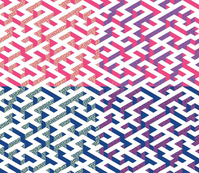 Uppsättningen av isometrisk labyrint med blått- och rosa färgkanter dekorerade med den plana labyrintprydnaden vektor illustrationer