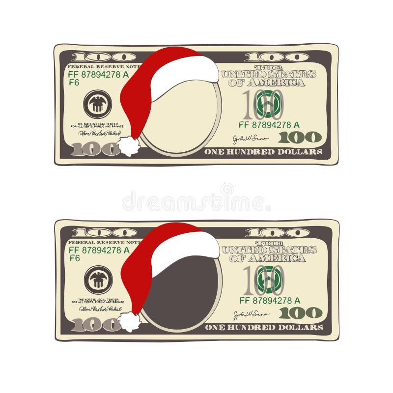 Uppsättningen av jul fakturerar hundra dollar med den Santa Claus hatten vektor illustrationer