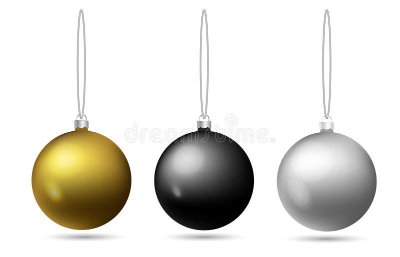 Uppsättningen av jul klumpa ihop sig att hänga på ett rep Svart som är guld-, silverleksak på julgranen klar vektor för nedladdni stock illustrationer