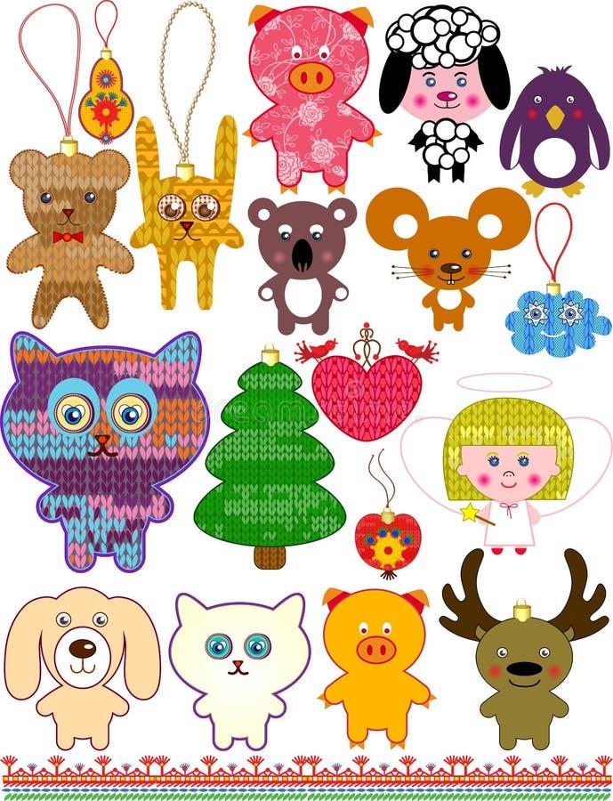 Uppsättningen av jul stack leksaker. royaltyfri illustrationer