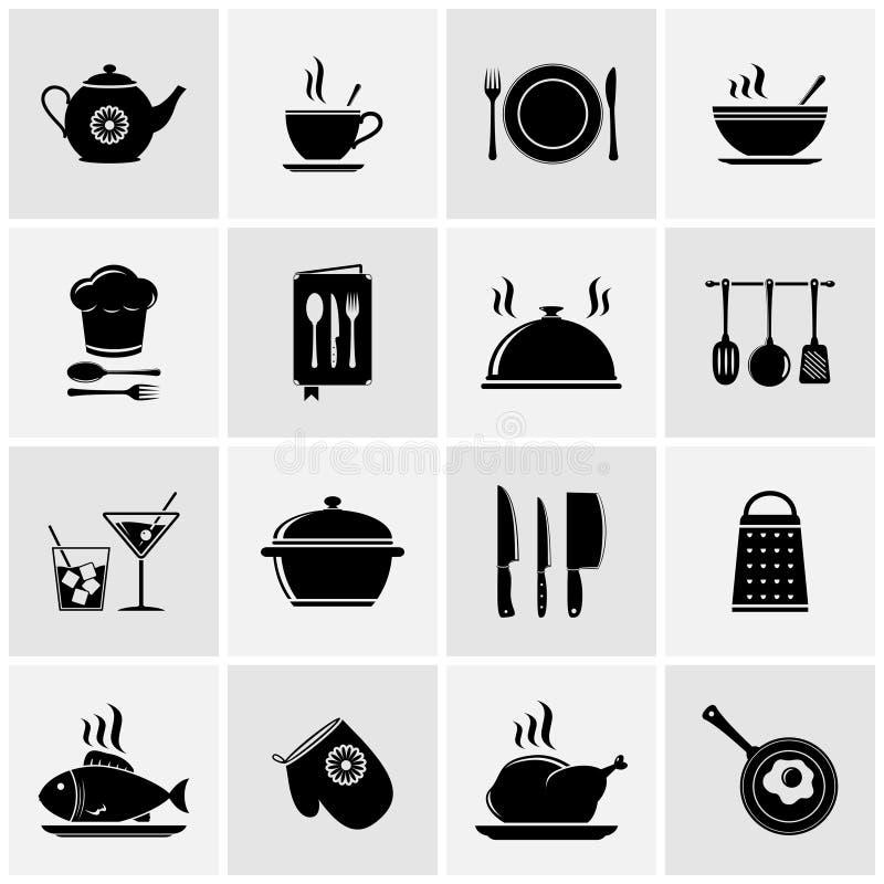 Uppsättningen av kök bearbetar konturer royaltyfri illustrationer
