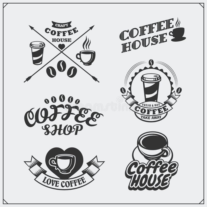 Uppsättningen av kaffe förser med märke, etiketter och designbeståndsdelar Coffee shopemblemmallar royaltyfri illustrationer