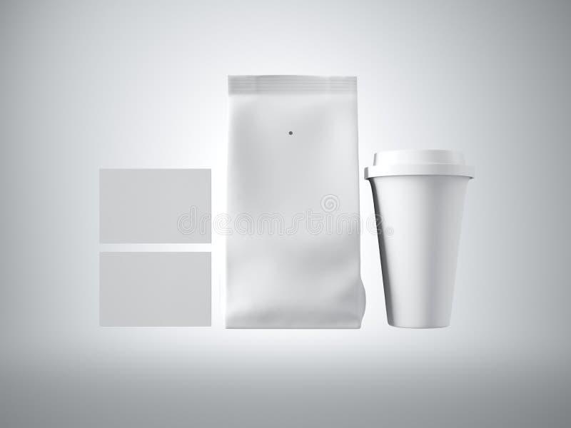 Uppsättningen av kaffepacken, tar den bort koppen och två tomma affärskort Vit bakgrund 3d framför arkivfoton