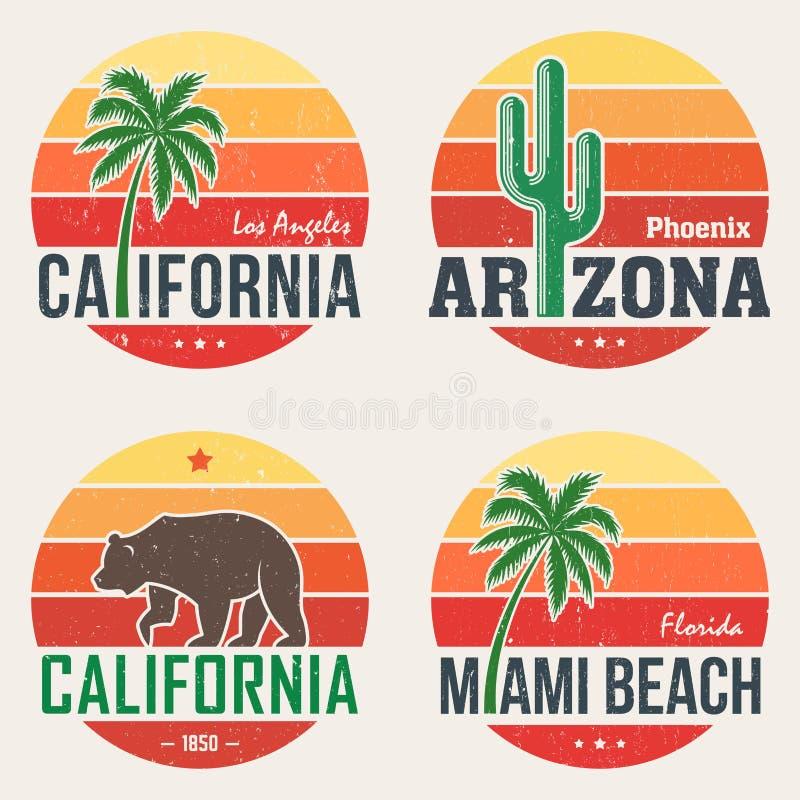 Uppsättningen av Kalifornien, Arizona, den Miami t-skjortan skrivar ut royaltyfri illustrationer