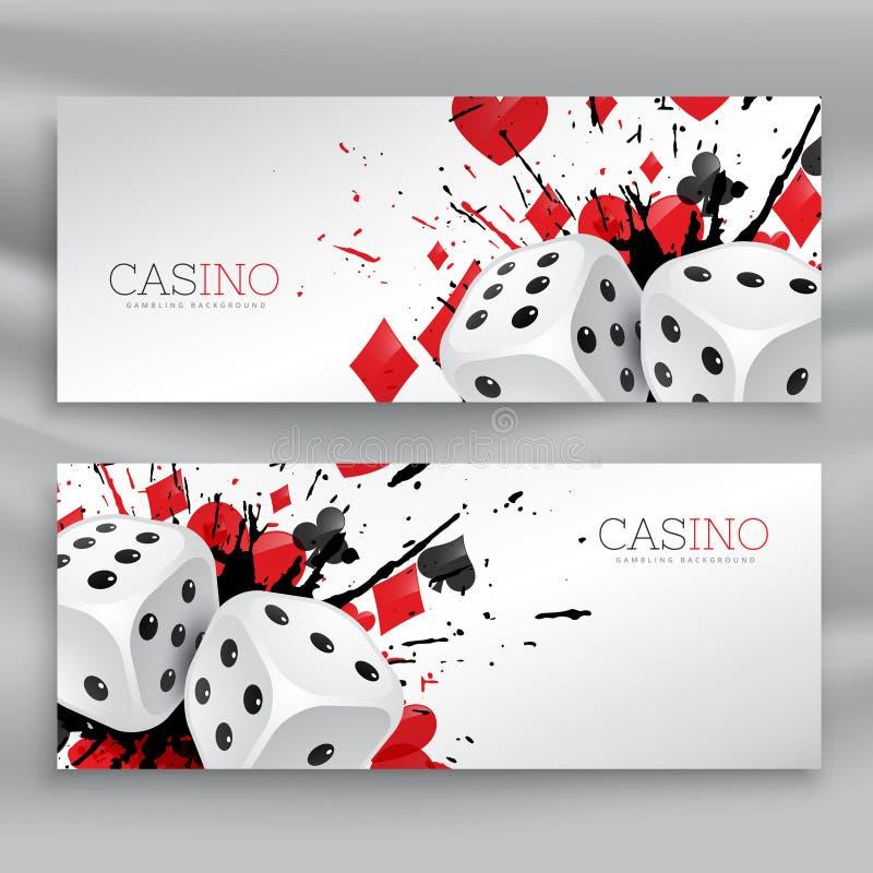 Uppsättningen av kasinobaner med tärnar och abstrakt färgpulverfärgstänk stock illustrationer