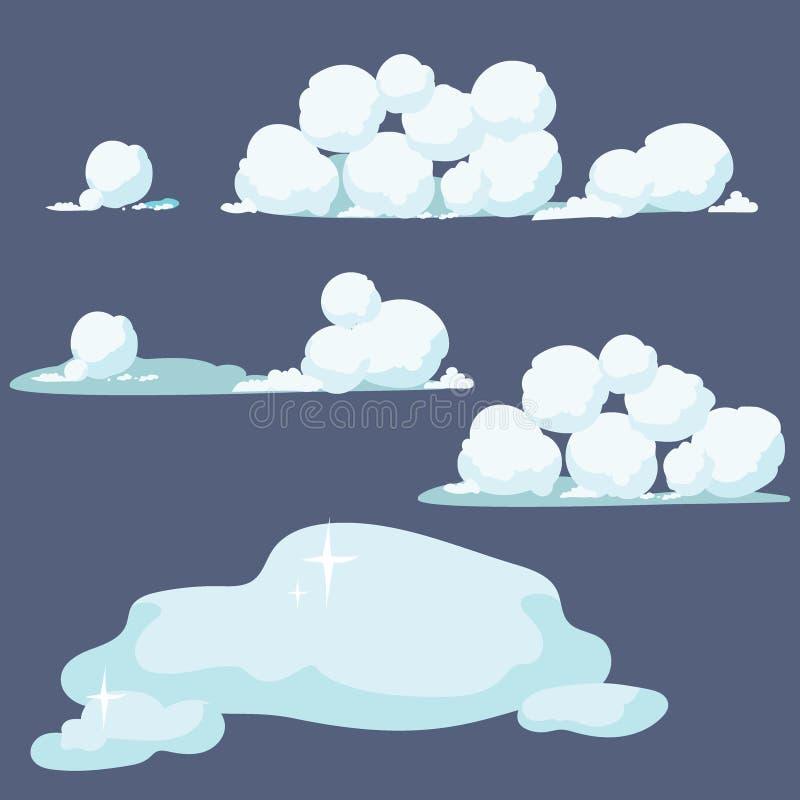 Uppsättningen av kastar snöboll Samling av snödrivor Vektorillustration av vinterbeståndsdelar royaltyfri illustrationer
