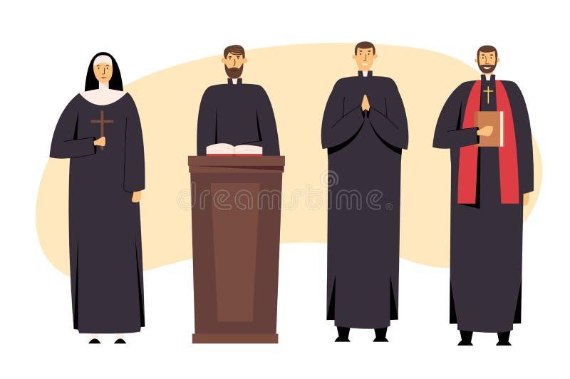 Uppsättningen av katoliken Christian Staff, prästen Man och nunnan Woman i enhetligt hållande kors, bibel och evangelium, välsign royaltyfri illustrationer