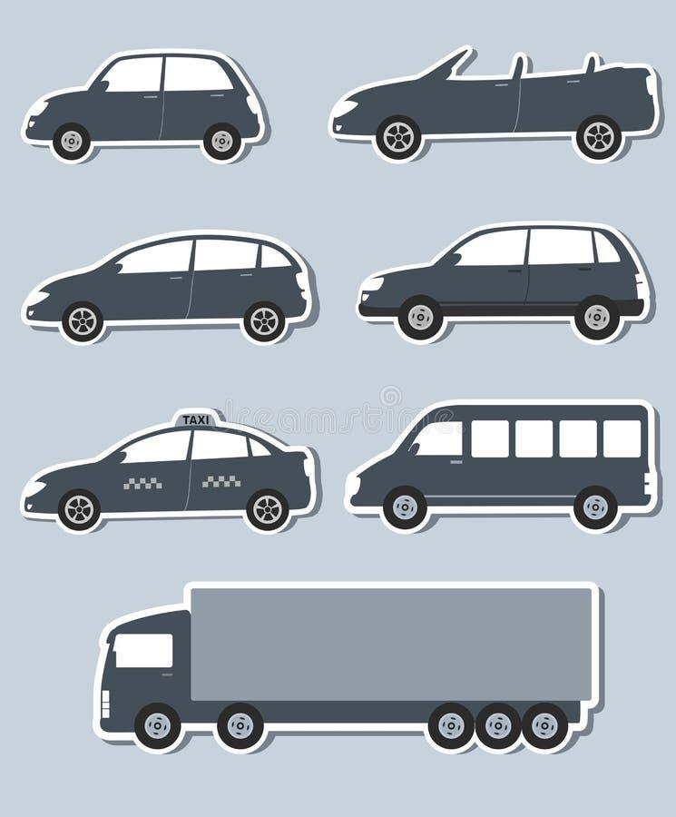 Uppsättningen av klistermärkear med bilen avbildar vektor illustrationer