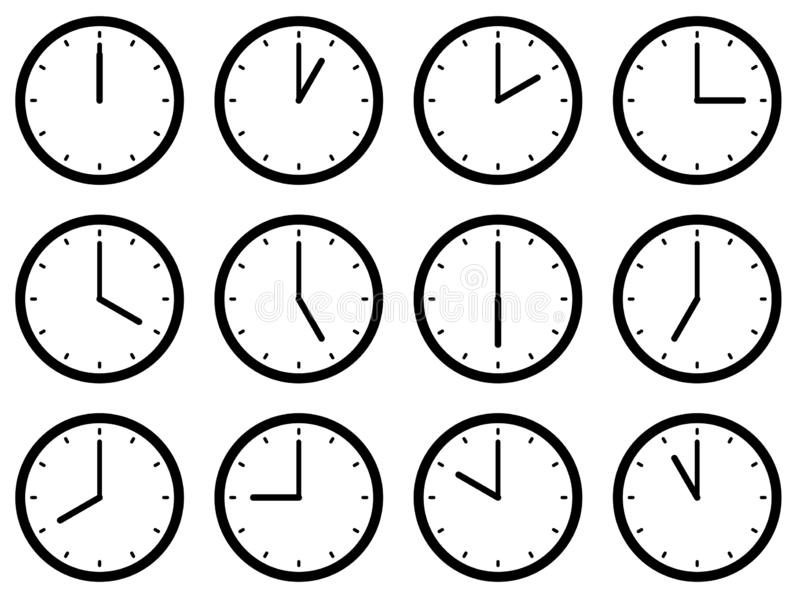 Uppsättningen av klockor, med tiderna ställde in på varje timme också vektor för coreldrawillustration vektor illustrationer
