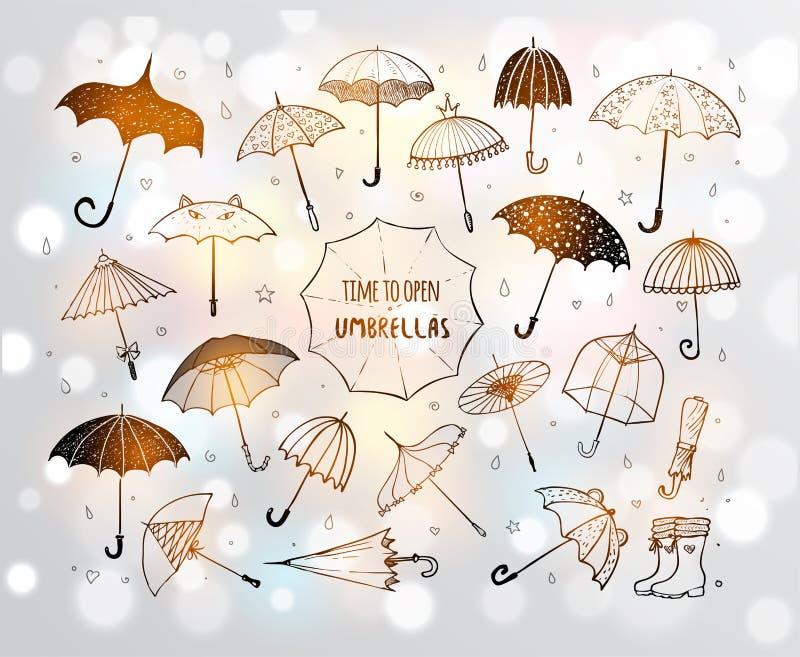 Uppsättningen av klottret skissar paraplyer på glödande bakgrund för vit stock illustrationer