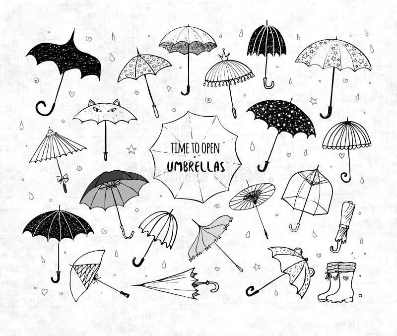 Uppsättningen av klottret skissar paraplyer på rispapperbakgrund royaltyfri illustrationer