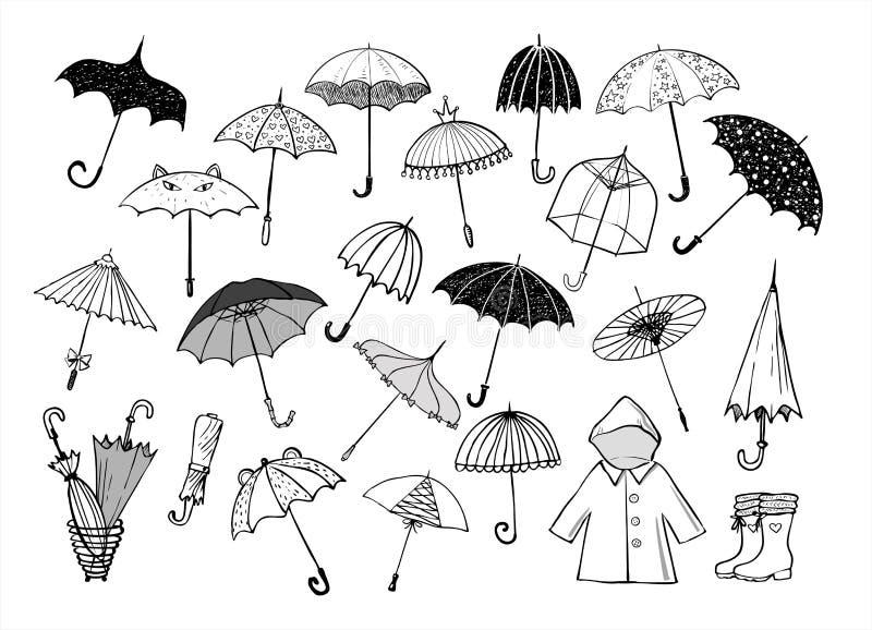 Uppsättningen av klottret skissar paraplyer på vit bakgrund royaltyfri illustrationer