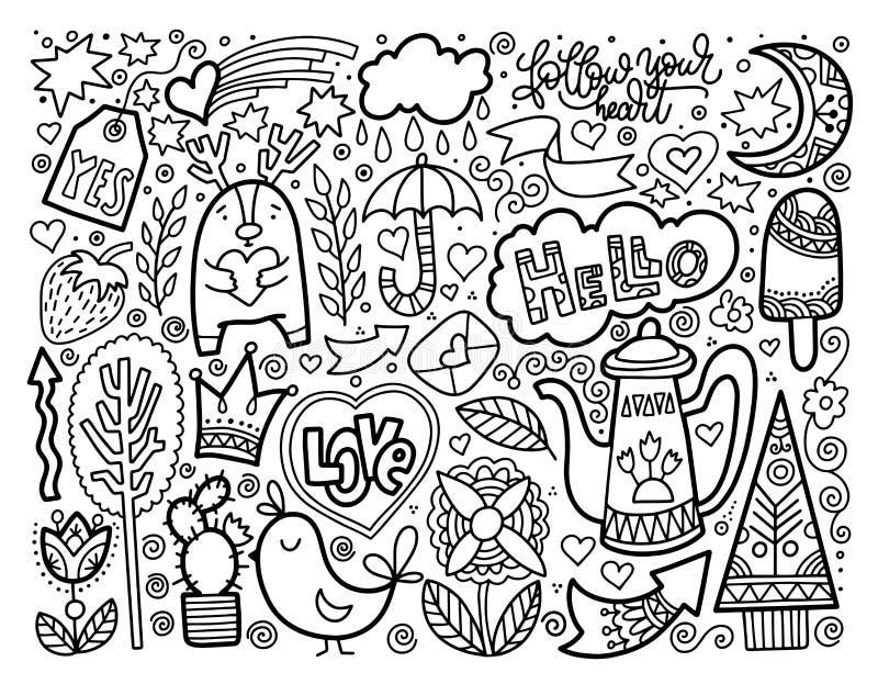 Uppsättningen av klottret skissar trevliga beståndsdelar för teckningen som är svartvita stock illustrationer