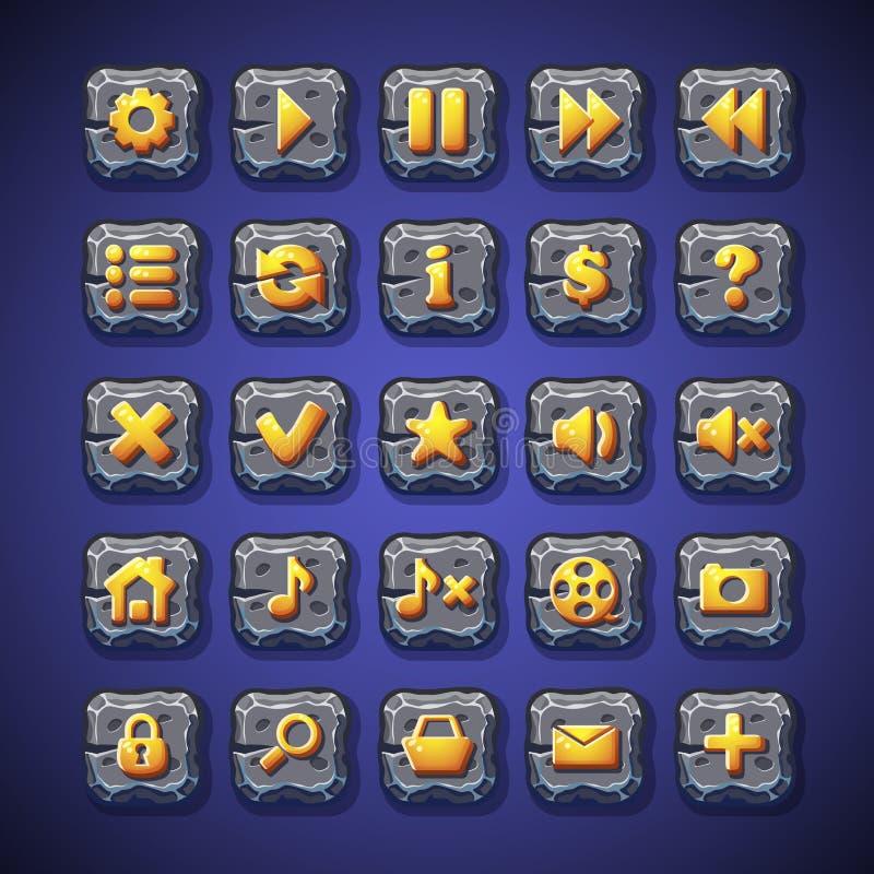 Uppsättningen av knappar stoppar, spelar, returnerar, söker, shoppingvagnen för bruk i användargränssnittet av dataspelar och ren royaltyfri illustrationer