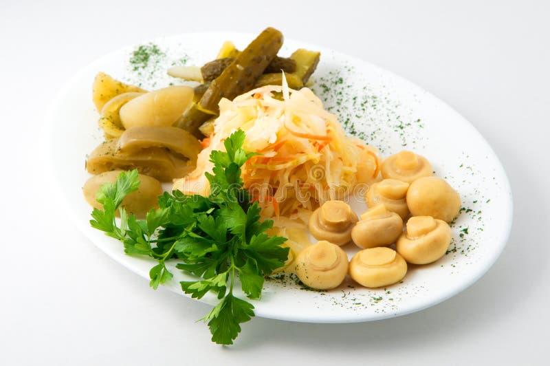 Uppsättningen av knipor på plattan med gurkor, tomater, champinjoner, surkål arkivbild