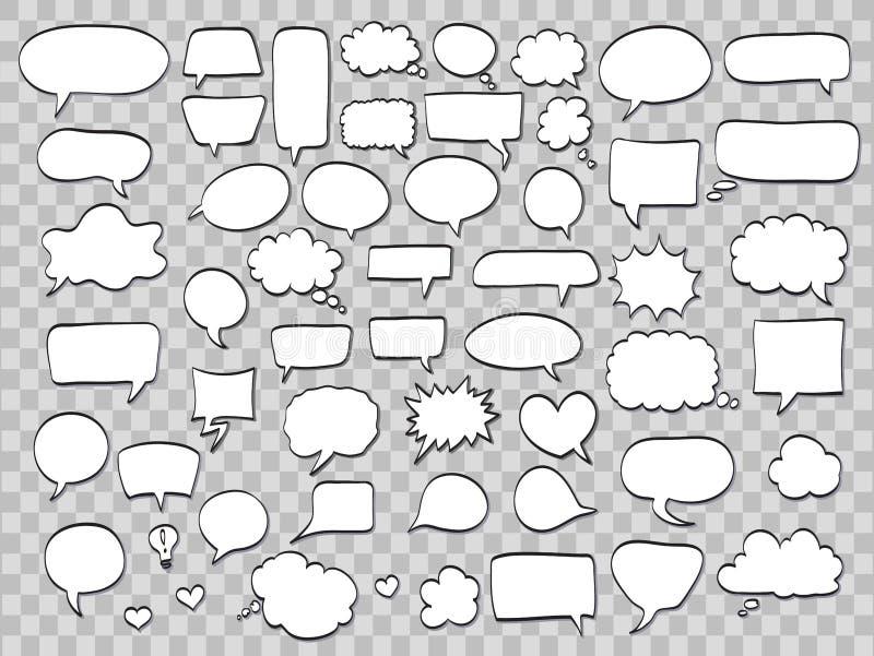 Uppsättningen av komiskt anförande bubblar på genomskinlig bakgrund Vektor il vektor illustrationer