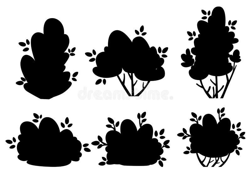 Uppsättningen av konturbuske- och trädgårdträd för parkerar stuga- och gårdvektorillustrationen som isoleras på vit bakgrundswebs royaltyfri illustrationer