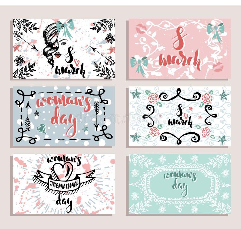 Uppsättningen av kortet för den internationella dagen för kvinna` s, 8 den drog handen för marsch skissar royaltyfri illustrationer