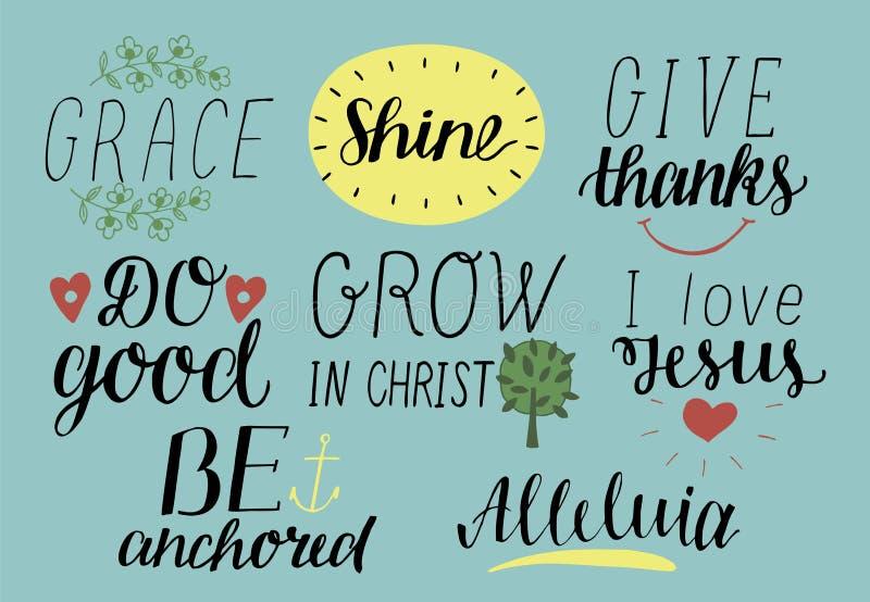 Uppsättningen av 8 kristna citationstecken för handbokstäver med symboler älskar jag Jesus nåd Ge tack Gör godan Väx i Kristus är vektor illustrationer