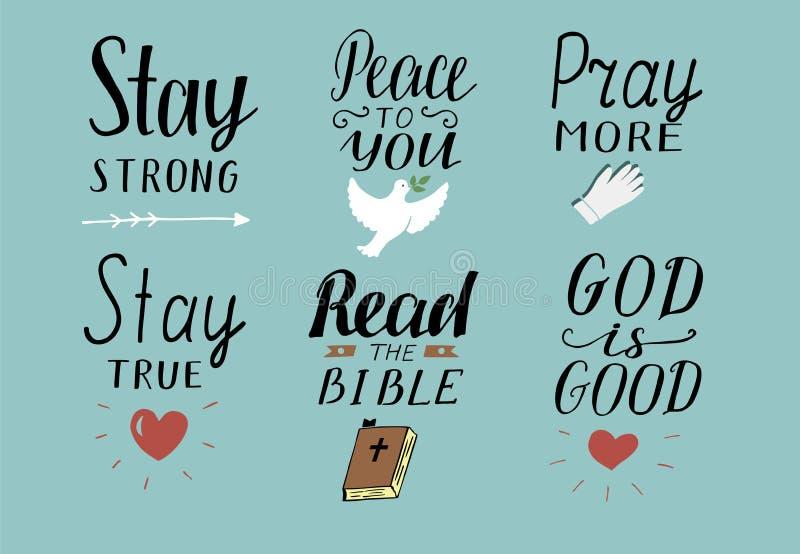 Uppsättningen av 6 kristna citationstecken för handbokstäver med symboler blir stark Fred till dig Be mer Läs bibeln Guden är bra stock illustrationer